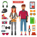 Icônes décoratives de couples de hippie réglées Photo libre de droits