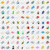100 icônes de étude réglées, style 3d isométrique Photos libres de droits