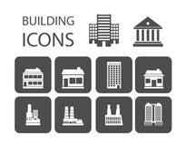 Icônes de bâtiment Photographie stock