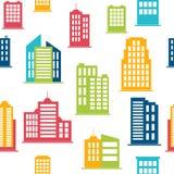 Icônes de bâtiment Configuration sans joint avec des constructions de ville Images libres de droits