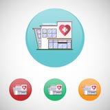 Icônes de bâtiment d'hôpital Photo stock