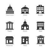 Icônes de bâtiment de gouvernement Photographie stock libre de droits