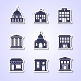 Icônes de bâtiment de gouvernement Image libre de droits