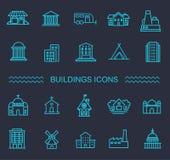 Icônes de bâtiment réglées, gouvernement Images libres de droits