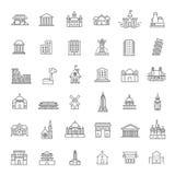 Icônes de bâtiment réglées, gouvernement landmarks Images stock