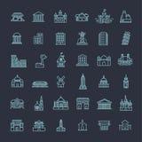 Icônes de bâtiment réglées, gouvernement landmarks Photos stock
