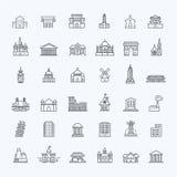 Icônes de bâtiment réglées, gouvernement landmarks Photographie stock libre de droits