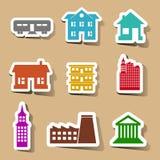 Icônes de bâtiment réglées sur des autocollants de couleur Photographie stock libre de droits