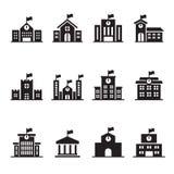Icônes de bâtiment scolaire réglées Image libre de droits