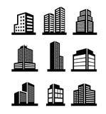 Icônes de bâtiments Image libre de droits