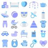 Icônes de bébé garçon réglées Illustration de vecteur illustration libre de droits