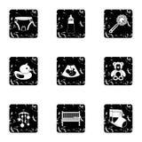 Icônes de bébé réglées, style grunge Photographie stock