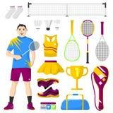 Icônes de badminton réglées Badminton, équipement de sport et uniforme pour la séance d'entraînement et le tournoi Image libre de droits