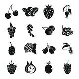 Icônes de baies réglées, style simple illustration stock
