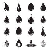 Icônes de baisse Baisse, aqua, symboles liquides Icônes noires de baisse d'isolement sur un fond blanc Illustration Stock