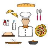 Icônes de Baker avec la boulangerie et les ingrédients Images libres de droits