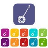 Icônes de banjo réglées Photo libre de droits