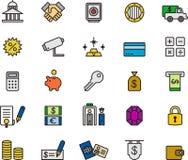 Icônes de banque et d'argent Photos stock