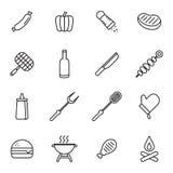 Icônes de barbecue Photo stock