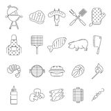 Icônes de barbecue ou de gril Photographie stock
