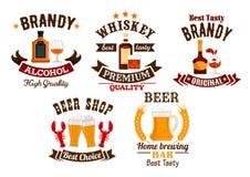 Icônes de barre réglées Bière, whiskey, icônes d'alcool d'eau-de-vie fine illustration libre de droits