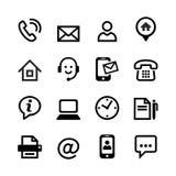 16 icônes de base - contactez-nous Photographie stock libre de droits