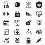 Icônes de basket-ball réglées Photo stock