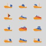 Icônes de bateaux réglées Photo libre de droits