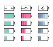 Icônes de batterie réglées Images stock