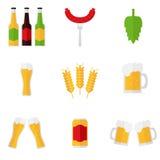 Icônes de bière d'isolement sur le fond blanc Photos stock