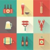 Icônes de bière réglées Photo stock