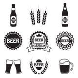 Icônes de bière, symboles et ensemble de labels Vecteur Photographie stock