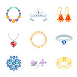 Icônes de bijoux plates Photos stock