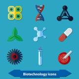 Icônes de biotechnologie plates Images libres de droits