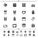 Icônes de boîte-cadeau Photographie stock