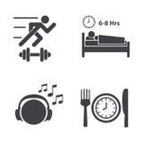 Icônes de bonnes santés réglées Photographie stock libre de droits