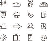 Icônes de boulangerie Photos stock