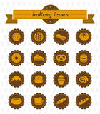 Icônes de boulangerie. collection d'illustrations. Image stock