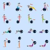 Icônes de boule de forme physique réglées Image stock