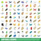 100 icônes de boule réglées, style 3d isométrique Photo libre de droits