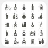 Icônes de bouteille réglées Photographie stock libre de droits