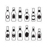 Icônes de bouteilles à bière Photos libres de droits