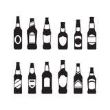 Icônes de bouteilles à bière Photo stock