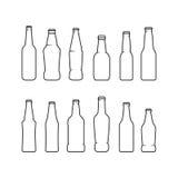 Icônes de bouteilles à bière Photographie stock