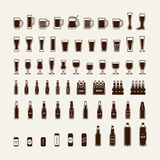 Icônes de bouteilles et en verre à bière réglées Vecteur Images libres de droits