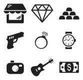 Icônes de boutique de prêteur sur gages Image libre de droits