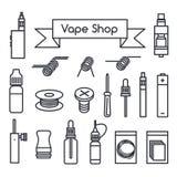 Icônes de boutique de Vape Image libre de droits