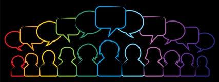 Icônes de bulle de personnes et de parole illustration stock