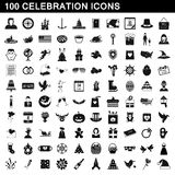 100 icônes de célébration réglées, style simple Photo stock