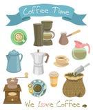 Icônes de café Photographie stock